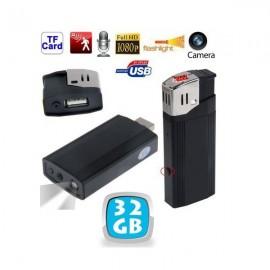 Clé USB Espion Briquet LED avec Caméra Détection de Mouvements